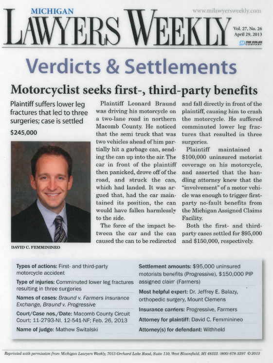 David Femminineo Secures $145,000 Settlement for Motorcyclist