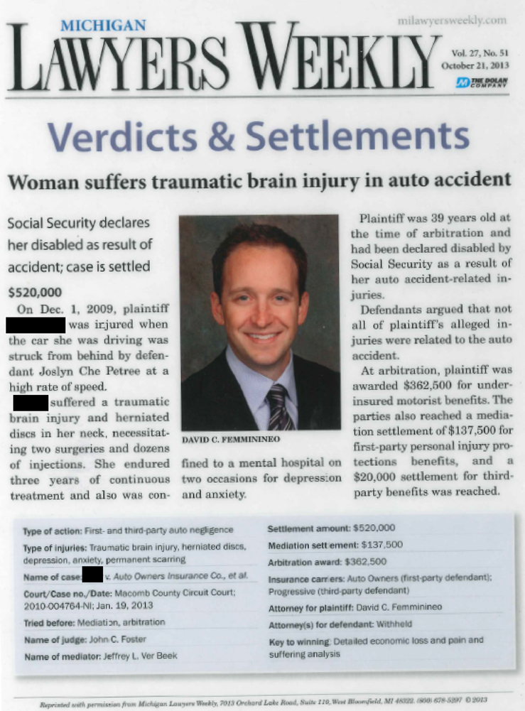 Auto Accident Victim Receives $520,000 Settlement After David Femminineo Wins the Case